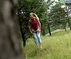 Little pig-tailed hoochie tinkling on forest glade